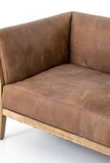 Leather Sofa with X-Stitch Tufting