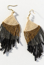 Ombre Black with Gold Fringe Earring