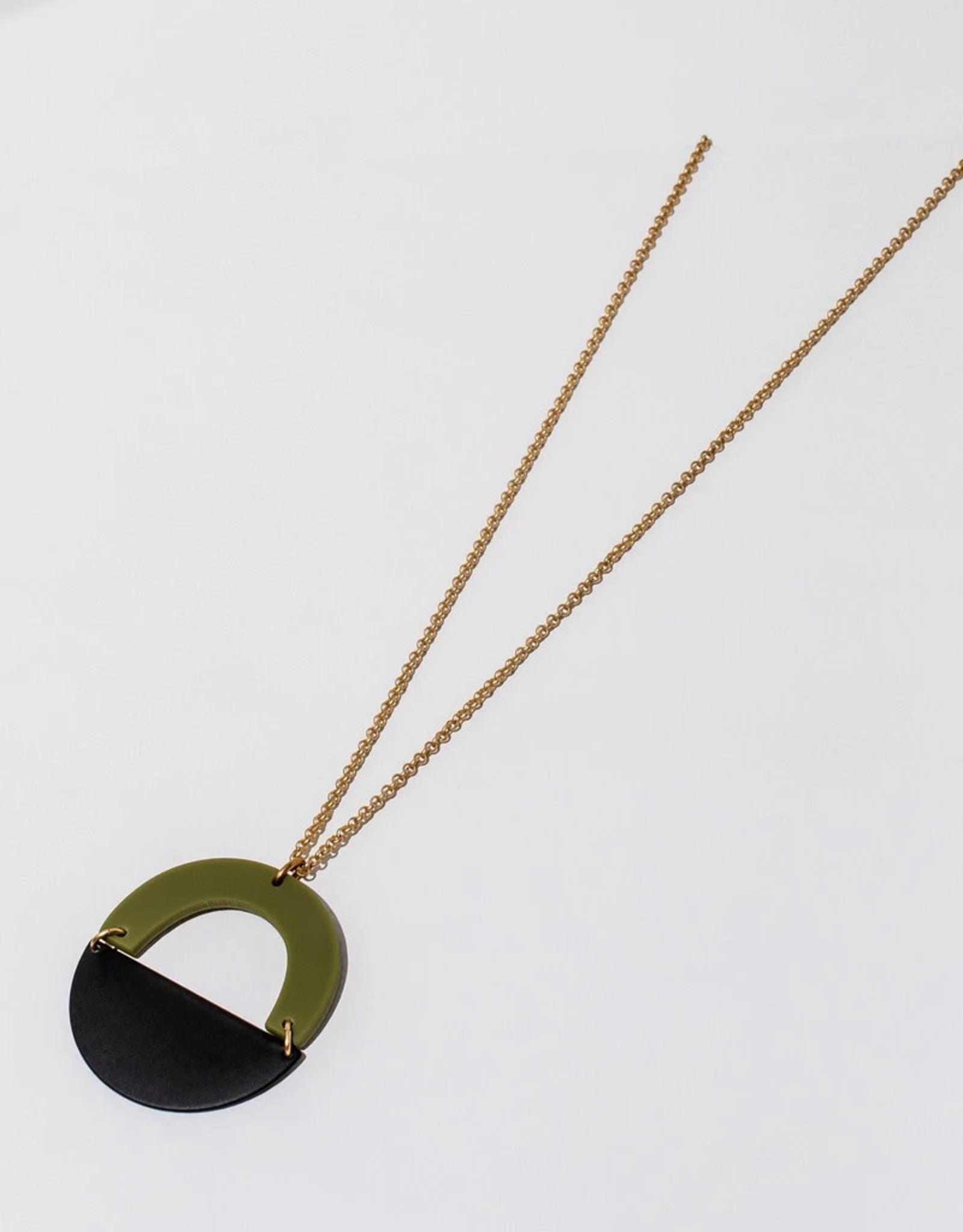 Green and Black Circular Pendant