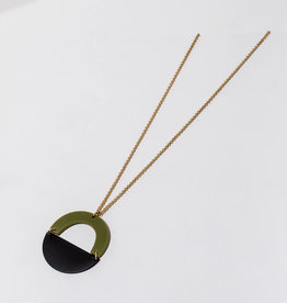 Green and Black Circular Pendant