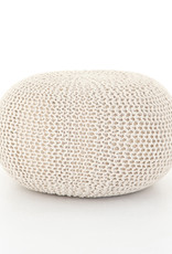 Jute Knit White Pouf