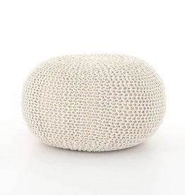 Jute Knit White Pouf