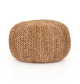 Jute Knit Tan Pouf