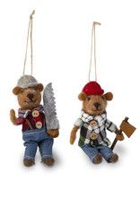 ORNAMENT WOODLAND BEAR RED FLANNEL