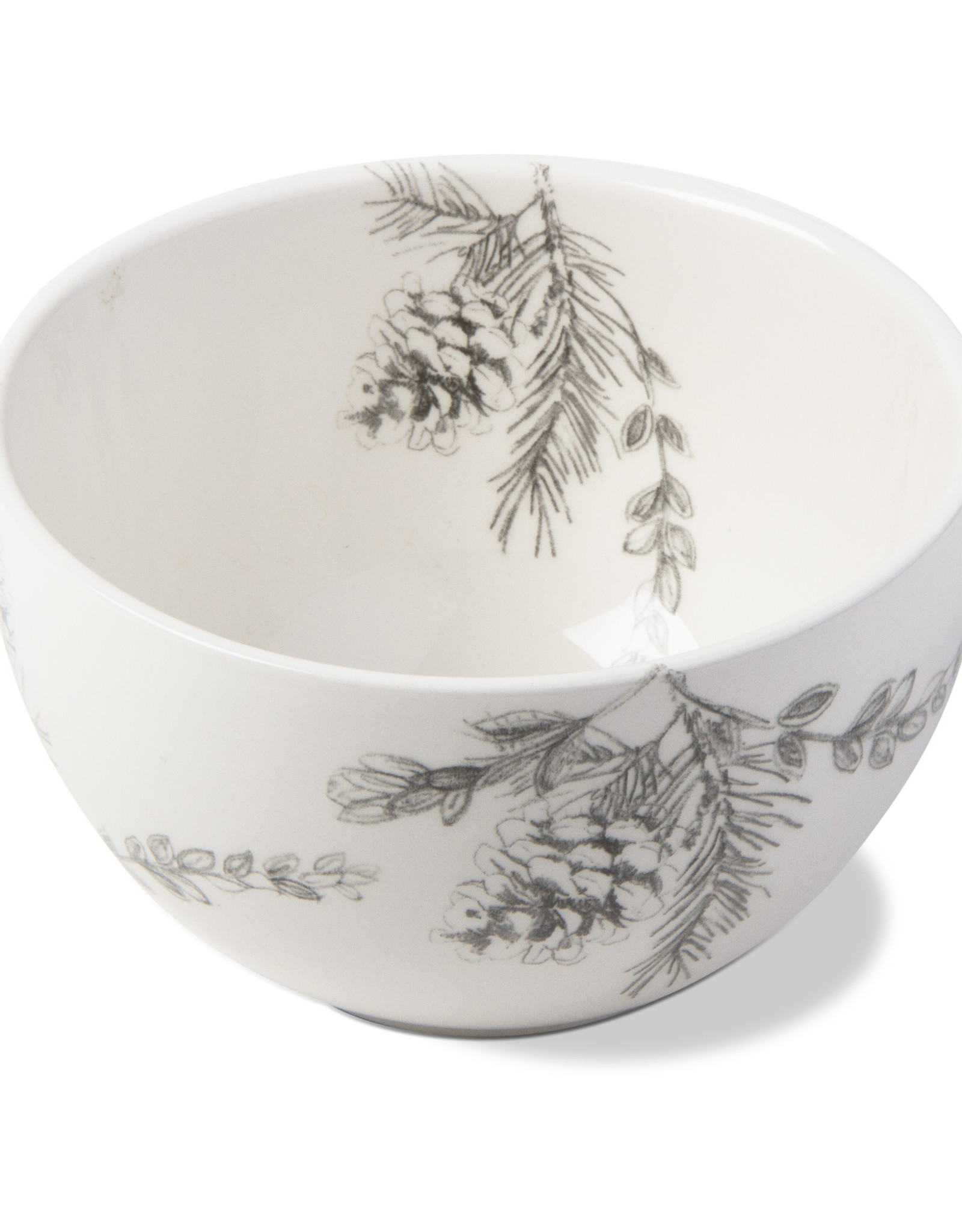 BOWL SMALL HAND DRAWN PINECONES 20 OUNCE