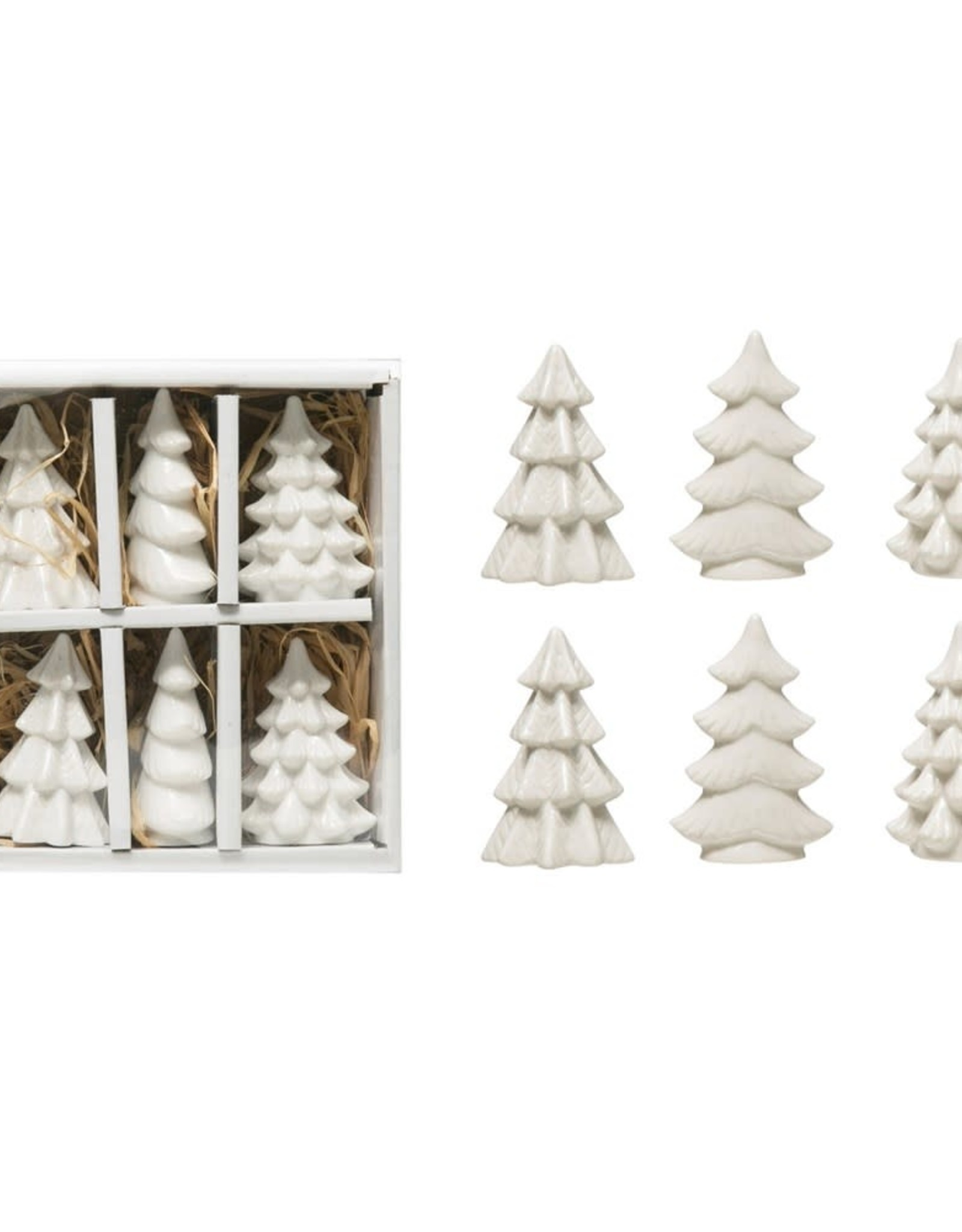 STONEWARE TREES WHITE SMALL ASSORTED