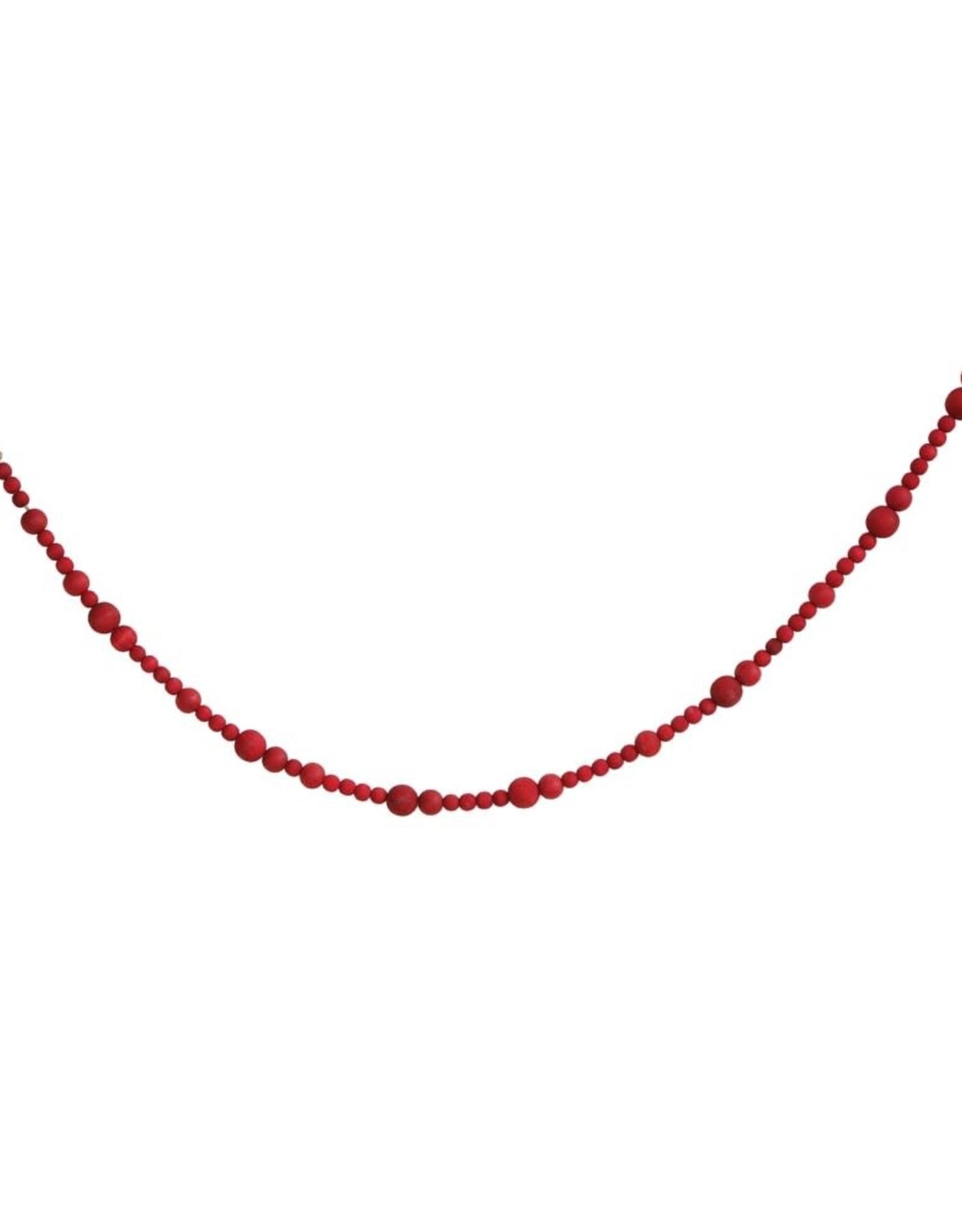 GARLAND PAULOWNIA WOOD BEAD 72 INCHES RED