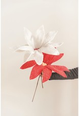 POINTSETTIA FELT OVERSIZED ASSORTED RED AND WHITE 16 INCH