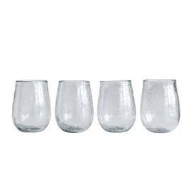 GLASS WINE STEMLESS HAMMERED RECYCLED GLASS