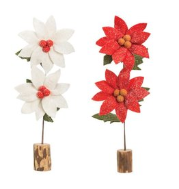 POINTSETTIA FELT OVERSIZED ASSORTED RED AND WHITE 23.5 INCH