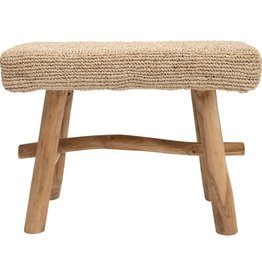 STOOL UPHOLSTERED JUTE WITH WOOD LEGS