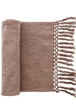 TABLECLOTH MOCHA BROWN STONEWASHED WITH FRINGE RUNNER