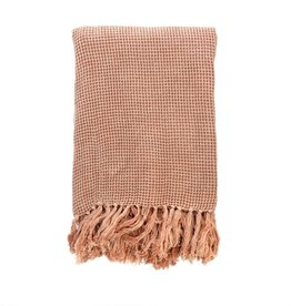 BLANKET THROW WAFFLE WEAVE LIGHT PINK