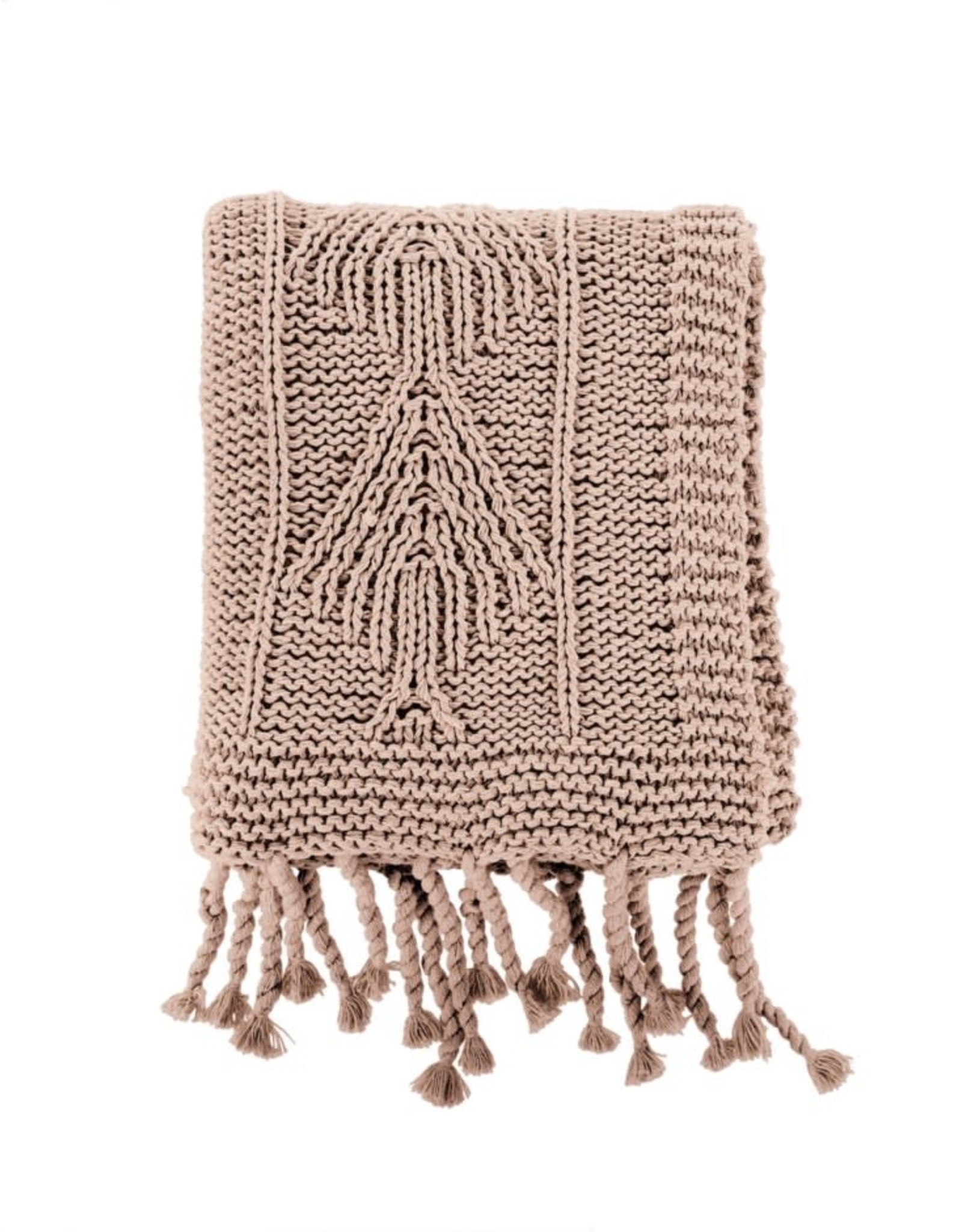 BLANKET THROW COTTON KNIT BEIGE