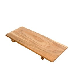 TRAY WOODEN FOOTED LARGE