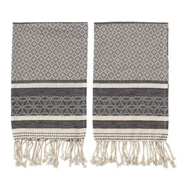 TOWEL 28 X 18 WOVEN COTTON GRAY AND WHITE MULTI PATTERN