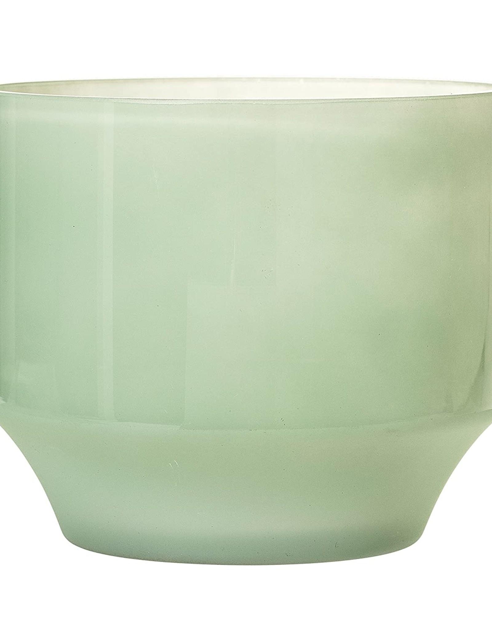 POT FLOWER GLASS 4.75 INCHES TALL GREEN