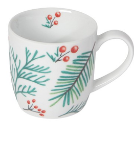 NOW DESIGNS MUG 12OZ BOUGH AND BERRY HOLLY AND PINE