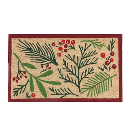 NOW DESIGNS RUG DOORMAT BOUGHS OF HOLLY