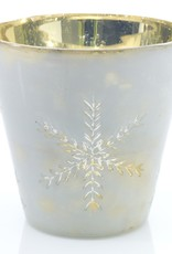 CANDLE HOLDER VOTIVE FLURRY 6 X 6 INCHES WITH SNOWFLAKE