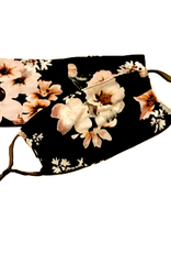 FACE MASK HEADBAND SET FLORAL BLACK