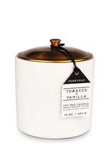CANDLE 15 OZ TOBACCO VANILLA  HYGGE WHITE CERAMIC