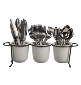 UTENSIL CADDY WHITE WITH GREY METAL LEGS
