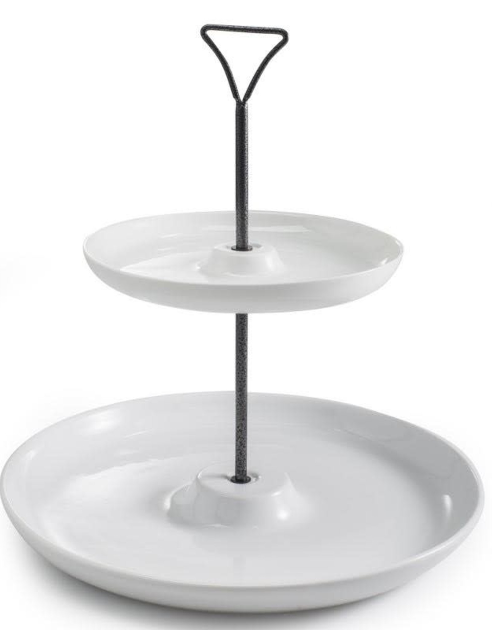 TRAY STAND 2 STACKED CIRCLE DISHES