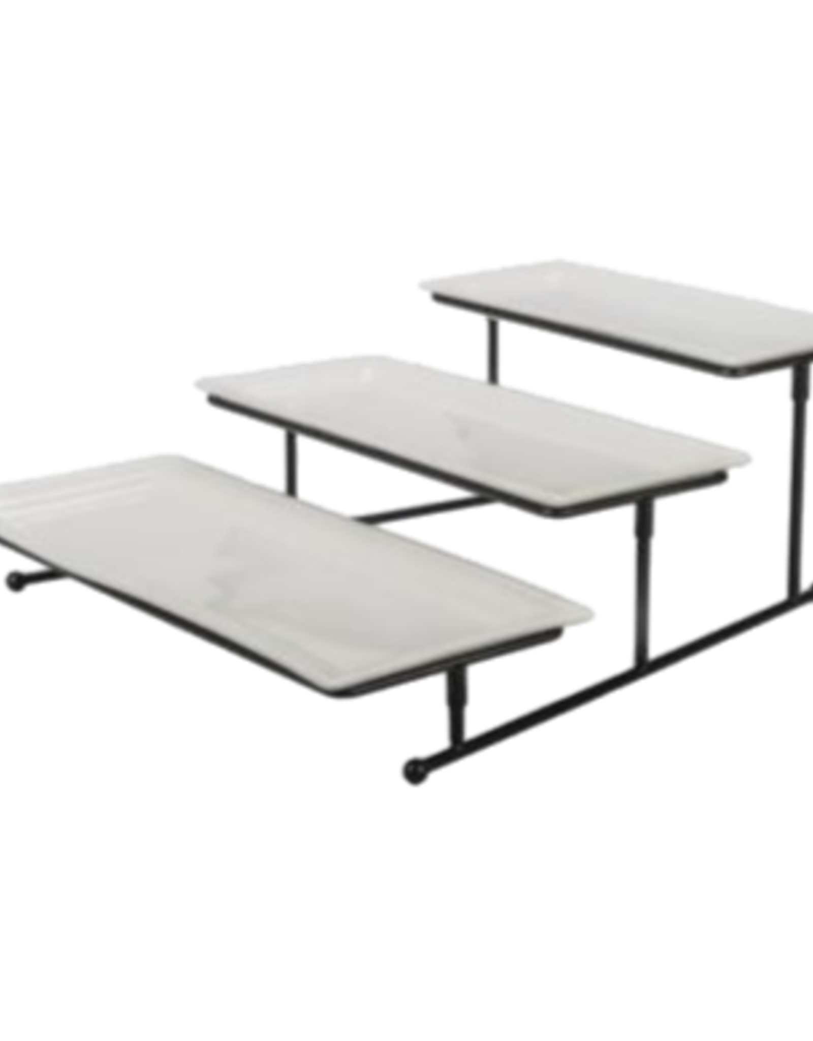 TRAY SET WITH STAND 3 TIERED RECTANGLE DISHES
