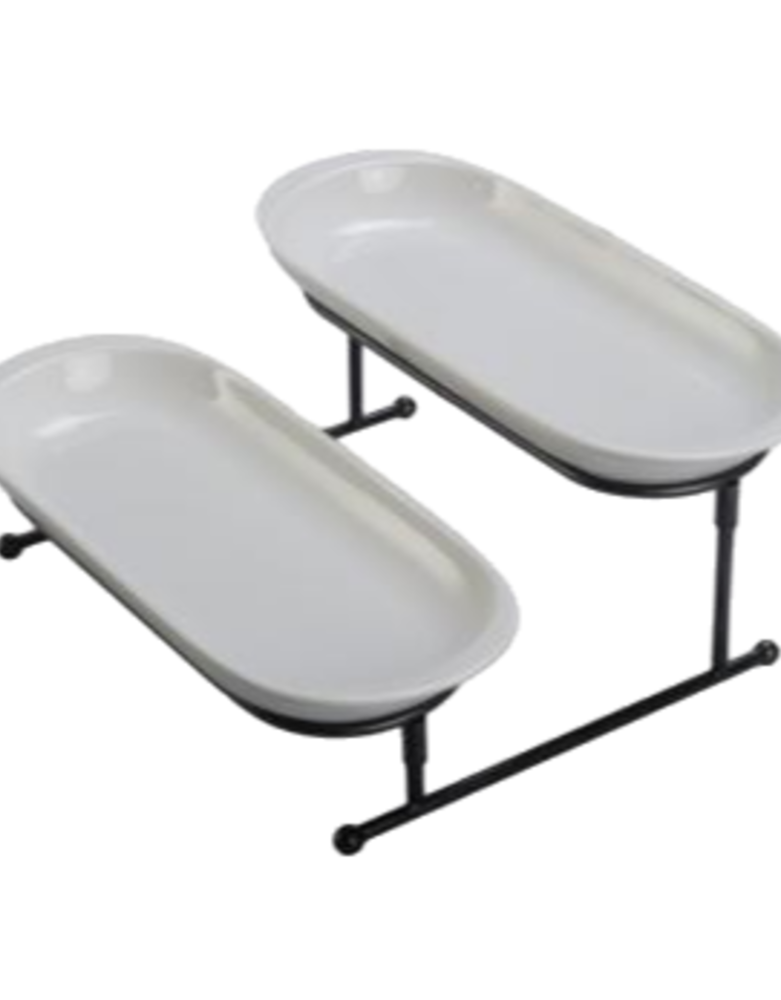 TRAY SET WITH STAND 2 SMALL OVAL DISHES
