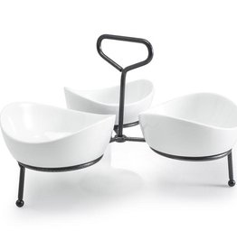 TRAY SET WITH STAND 3 SMALL APPETIZER BOWLS