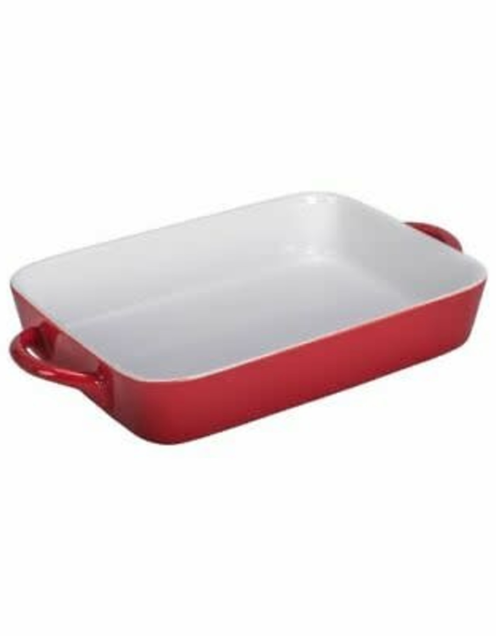 BAKER WITH HANDLES 17 INCH RECTANGLE RED