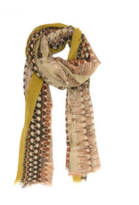 SCARF GEOMETRIC FEATHER MUSTARD