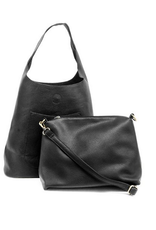 PURSE HANDBAG AND CROSSBODY VEGAN LEATHER MOLLY SLOUCHY HOBO SET OF 2 BLACK