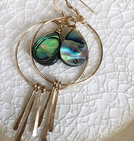 EARRINGS HOOPS WITH ABALONE AND DANGLES GOLD