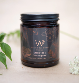 WITCH IN THE WOODS CONTAINER CANDLE WITCH IN THE WOODS GREEN TEA AND LEMONGRASS AMBER GLASS JAR 7.2OZ