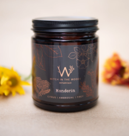 WITCH IN THE WOODS CONTAINER CANDLE WITCH IN THE WOODS CITRON AND MANDARIN AMBER GLASS JAR 7.2OZ