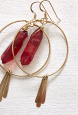 EARRINGS HOOPS WITH CRIMSON CRYSTAL AND DANGLES GOLD