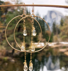 EARRINGS HOOPS WITH 3 CITRINE CRYSTALS ON CHAIN GOLD