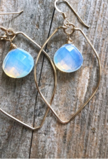 EARRINGS HOOPS LEAF WITH OPAL ACCENT GOLD