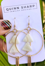EARRINGS HOOPS WITH TRIANGULAR MOTHER OF PEARL GOLD