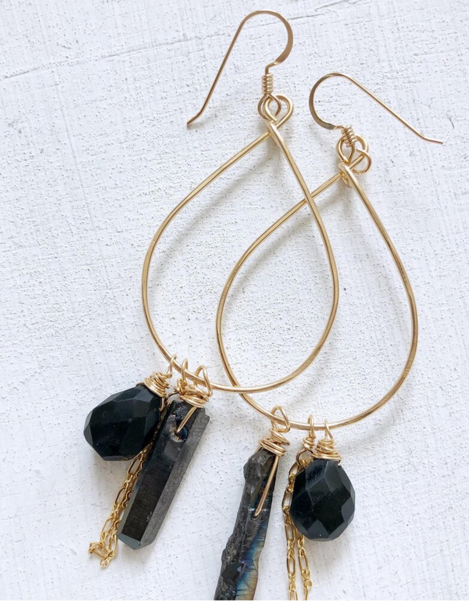 EARRINGS HOOPS TEARDROP BLACK ONYX AND CRYSTAL GOLD