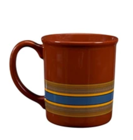 PENDLETON MUG 12 OZ CAMP STRIPE CERAMIC MATTE BROWN