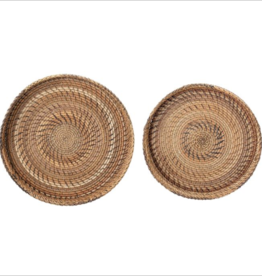 BASKET TRAY RATTAN ROUND WITH HANDLES