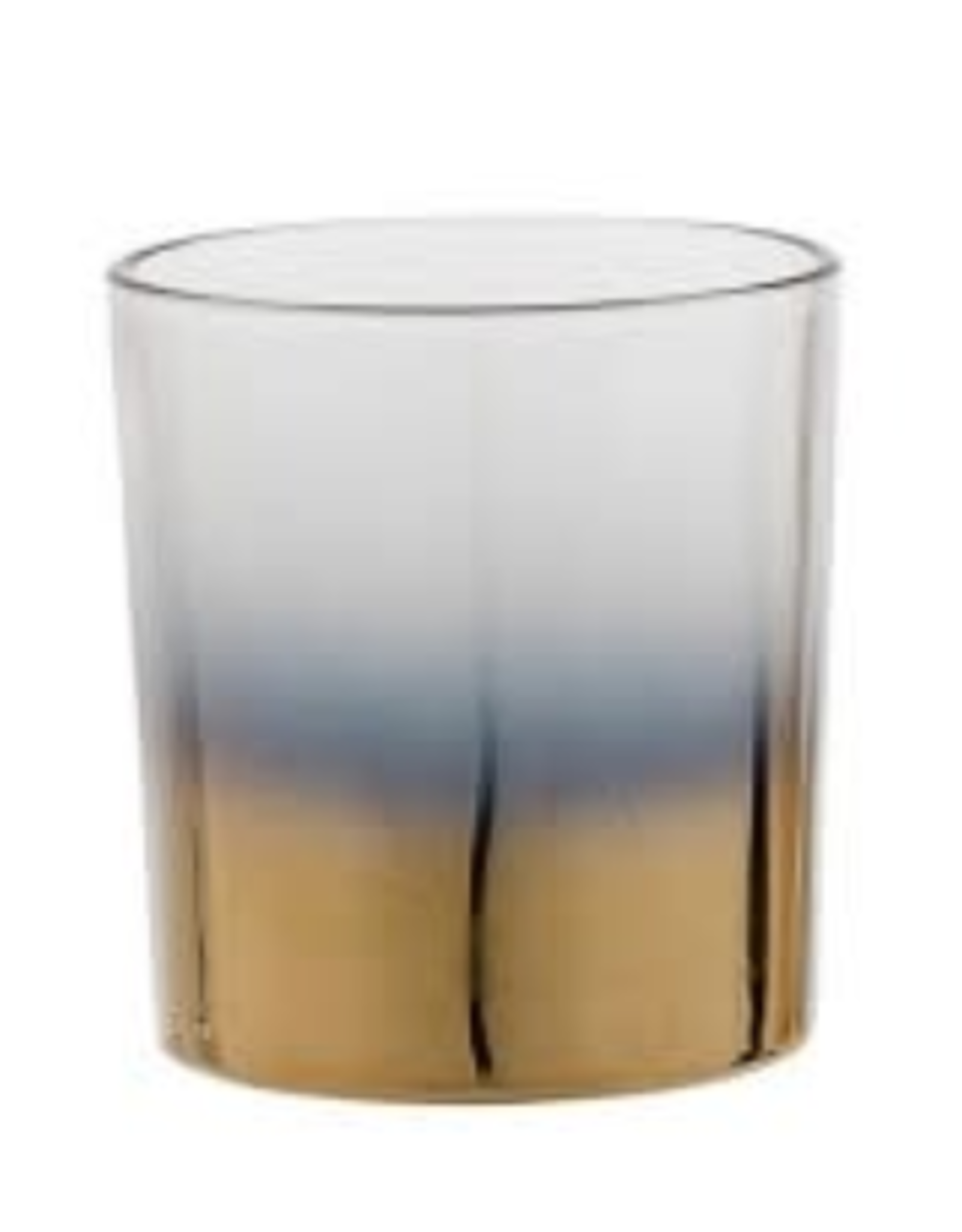 CANDLE HOLDER GLASS CLEAR AND GOLD