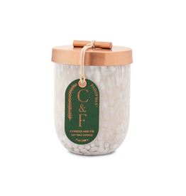 CONTAINER CANDLE HOLIDAY CYPRESS AND FIR WHITE MARBLED CHEENA GLASS WITH COPPER LID 7OZ