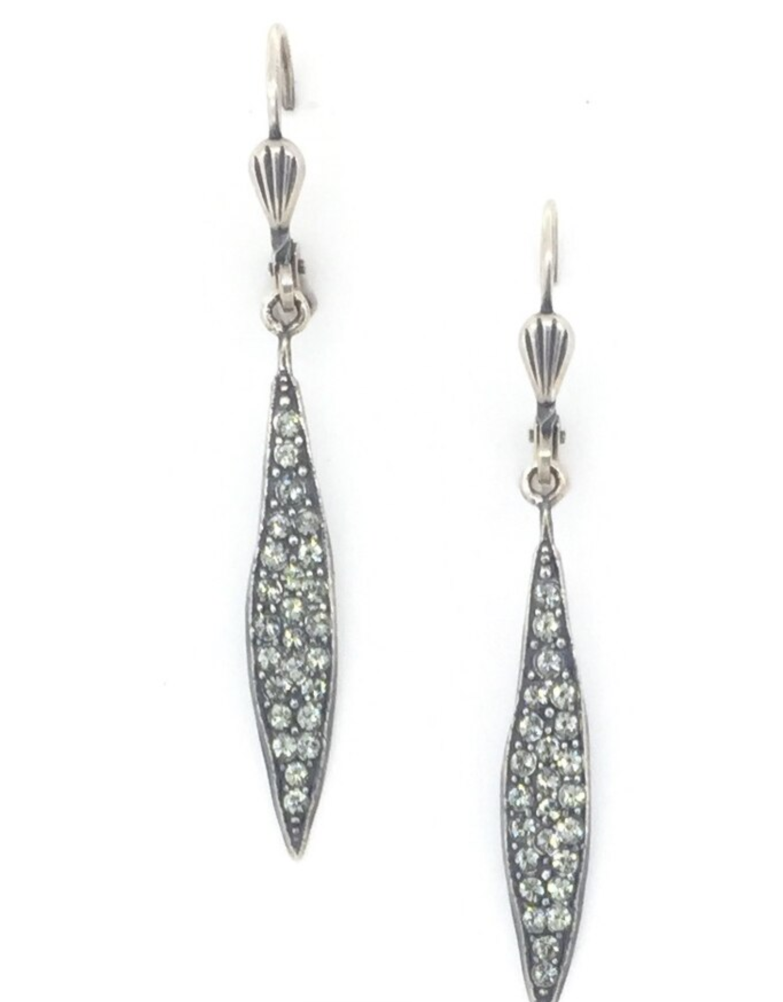 EARRING SPEAR WITH CRYSTALS ON FRENCH HOOK SILVER