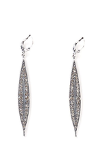 LA VIE PARISIENNE INC EARRING LONG SPEAR WITH RHINESTONES 2 INCHES SILVER