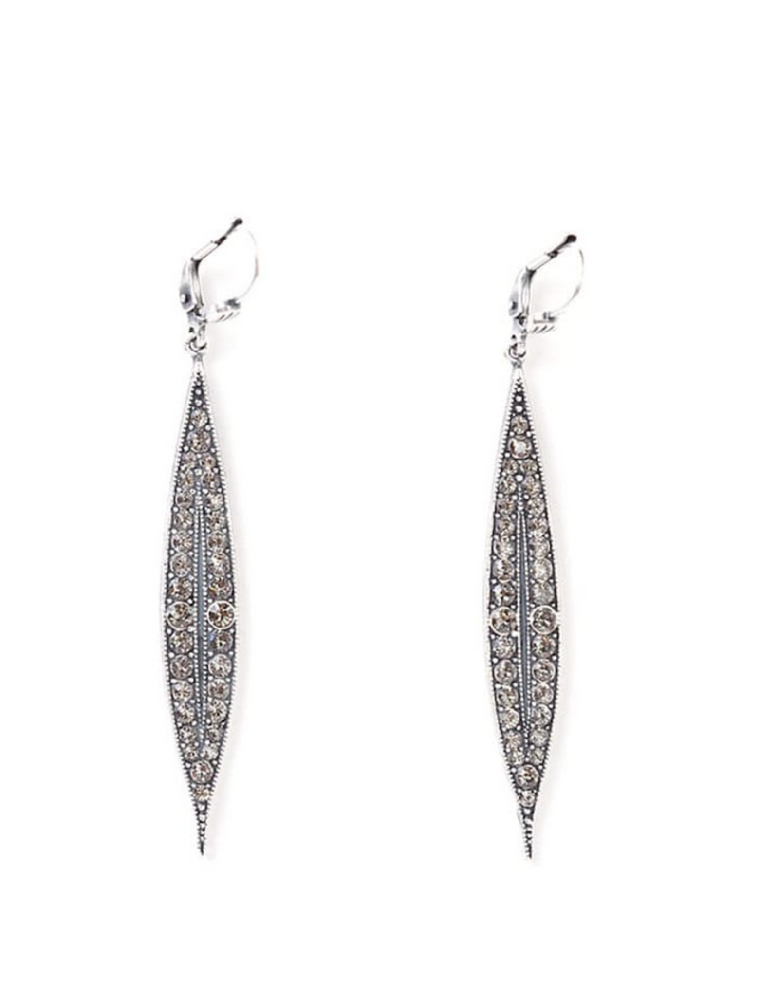 EARRING LONG SPEAR WITH RHINESTONES 2 INCHES SILVER