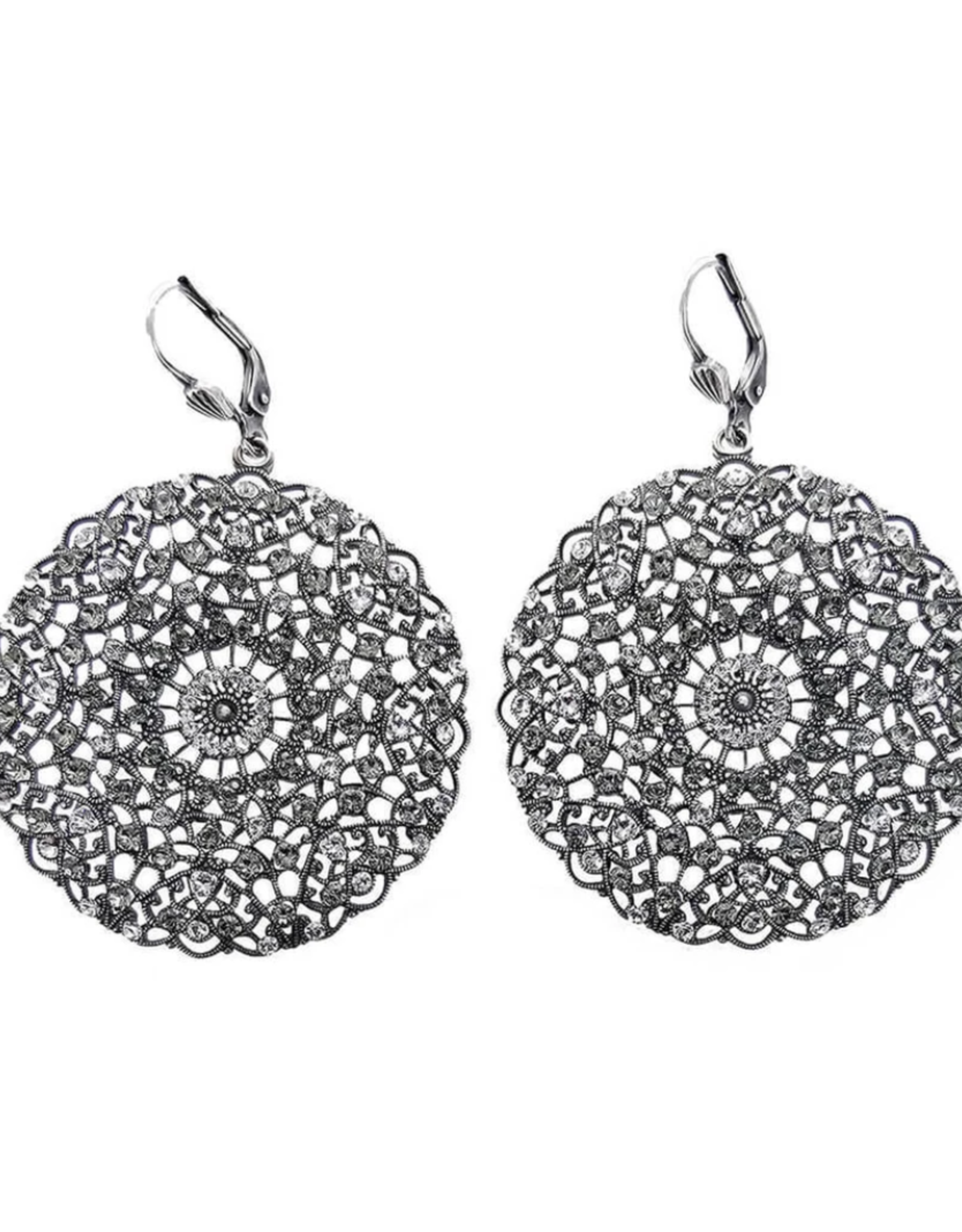 EARRING ROUND FILIGREE LARGE SILVER